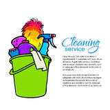 Bucket with cleaning cleaners. Cleaning services. Cleaning services. Hand drawn spray and dust collector, rag, sponge. Cleaning homes and offices. Bucket with Royalty Free Stock Photos