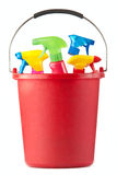 A bucket of cleaning gear Stock Images