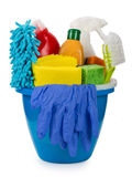 Bucket with cleaning items Stock Photos