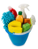 Bucket with cleaning items, top view Stock Photos