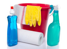 Bucket with cleaning products and cleaning material Royalty Free Stock Photography