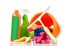 Bucket with cleaning products and tools stock photos