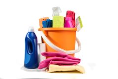Bucket with cleaning products and tools royalty free stock image