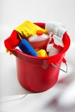 Bucket of cleaning supplies. Colorful Bucket of Cleaning supplies Stock Photo