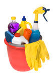 Bucket of cleaning supplies Royalty Free Stock Photo