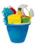 Bucket with cleaning supplies Stock Image