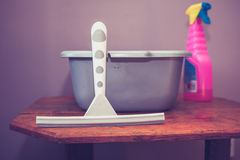 Bucket and cleaning utensils Stock Images