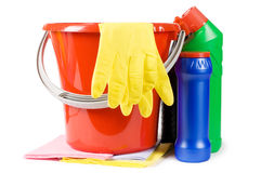 Bucket for cleaning with washing-up liquids Stock Photo