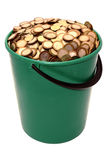 A bucket of coins Royalty Free Stock Photography