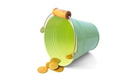 Bucket coins Stock Image