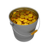 Bucket coins Royalty Free Stock Photo