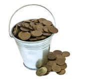 Bucket with coins Stock Photo