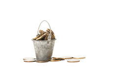 Bucket of coins Royalty Free Stock Photos
