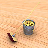 Bucket with coins and a mop Stock Image