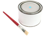Bucket of color and brush stock photography