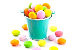 Bucket of colorful candy. On white background Stock Photography