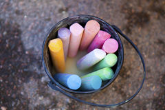 Bucket of crayons Stock Photo
