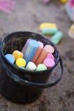 Bucket of crayons Stock Photos