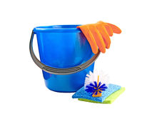 Bucket with detergents. A bucket with a detergent on a white background Royalty Free Stock Photo