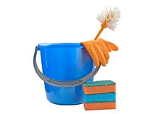 Bucket with detergents. A bucket with a detergent on a white background Royalty Free Stock Images