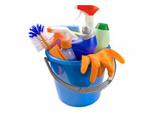 Bucket with detergents Stock Images