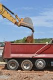 Bucket of dirt gets dumped into a dump truck. A bucket of dirt is shown being dumped into a large dump truck on a construction site in SC / USA Royalty Free Stock Photo