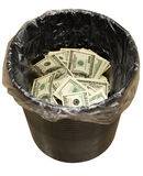 Bucket, dollars, three Royalty Free Stock Images