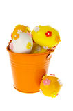 Bucket with easter eggs Stock Photo
