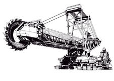 Bucket excavator. Industries illustration Royalty Free Stock Image