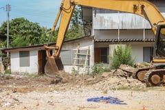 Bucket Excavator dig work construction  in outdoor. Bucket Excavator. excavator destruction in Work outdoor construction, and  dust soil motion : select focus Stock Images