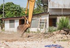 Bucket Excavator dig work construction  in outdoor. Bucket Excavator. excavator destruction in Work outdoor construction, and  dust soil motion : select focus Stock Photo