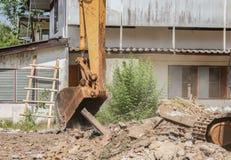 Bucket Excavator. excavator destruction in Work construction. Bucket Excavator. excavator destruction in Work outdoor  construction  that dust motion : select Stock Image