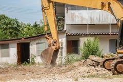 Bucket Excavator. excavator destruction in Work outdoor. Construction,and  dust soil motion : select focus front bucket Excavator Stock Image