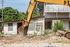 Bucket Excavator. excavator destruction in Work outdoor construction Stock Photography