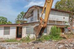 Bucket Excavator. in work excavator destruction construction. Select focus front bucket Excavator Stock Photography