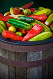 Bucket of Fake Peppers Stock Photography