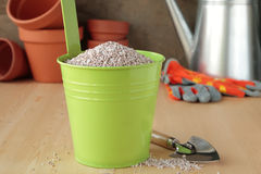 Bucket with fertilizer Stock Photo
