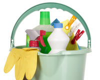 Bucket filled with cleaning industry tools Stock Photo