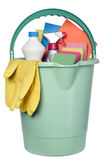 Bucket filled with cleaning industry tools Royalty Free Stock Photo