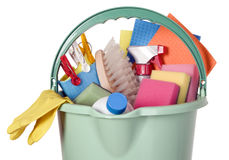 Bucket filled with cleaning industry tools Royalty Free Stock Photography