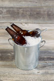 Bucket filled with Ice and Beer Stock Photos