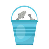 Bucket of fish. icon flat, cartoon style.  on white background. Vector illustration, clip-art. Stock Image