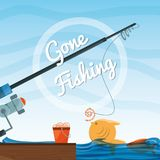 Bucket with fish and rod. Vector illustration Royalty Free Stock Image