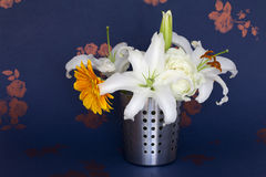 A bucket of flowers Royalty Free Stock Images