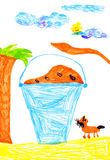 Bucket of food for dogs. child's drawing Royalty Free Stock Photos