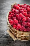 Bucket with fresh raspberries on wooden board.  Stock Photography