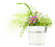 Bucket of fresh spring wild flowers Stock Photos