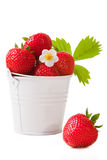 Bucket with fresh strawberry on the isolated white Royalty Free Stock Images