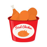 Bucket of fried chicken, tasty fast food. Cartoon flat style Royalty Free Stock Photos