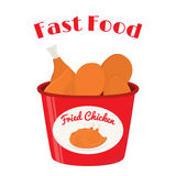Bucket of fried chicken, tasty fast food. Cartoon flat style Royalty Free Stock Image